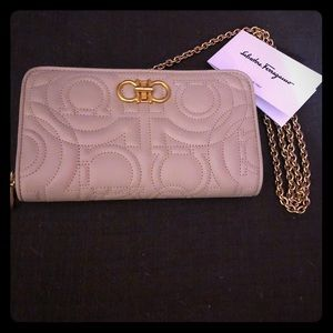 Ferragamo gancini quilted chain wallet crossbody